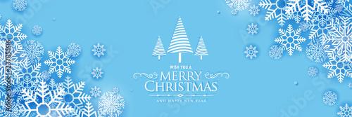 Fototapeta beautiful merry christmas snowflakes banner design obraz