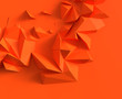 Leinwanddruck Bild - Abstract background with space for text. orange chaotic polygons, 3d render or rendering