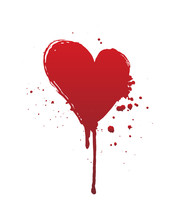 Dripping Blood Or Red Heart Br...