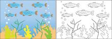 Coloring Book For Children. Fish Swim In The Sea, Cartoon. Vector Illustration.