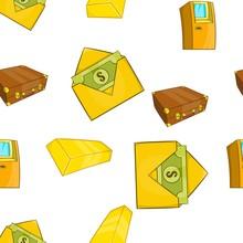 Bank And Money Pattern. Cartoon Illustration Of Bank And Money Vector Pattern For Web