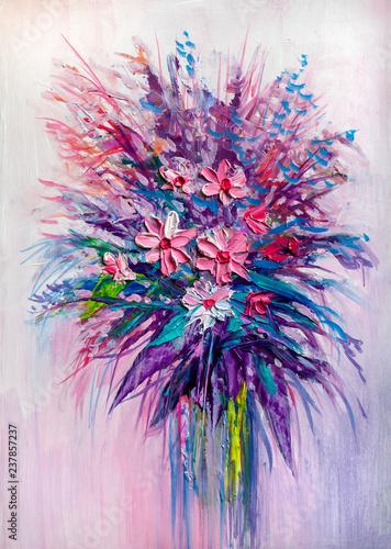 Obraz Kolorowe kwiaty - obraz olejny - fototapety do salonu