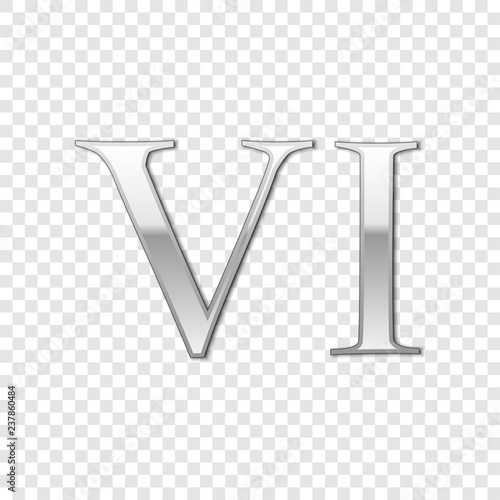 Fotografía  Silver Roman numeral number 6, VI, six in alphabet letter isolated on transparent background