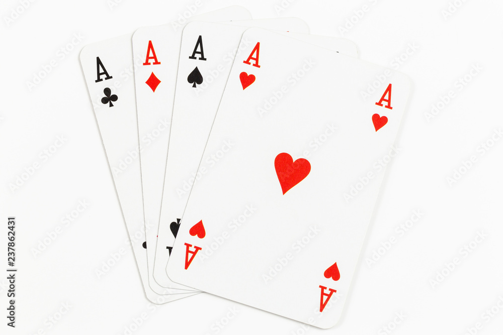 Fototapety, obrazy: Four playing cards of Aces isolated on white background