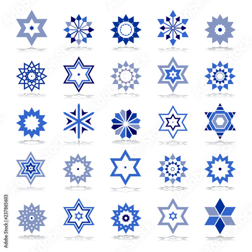 Fotografia, Obraz  Design elements set. Blue star shape icons.