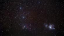 Closeup Of The Orion Belt With Orion Nebula, Running Man Nebula, Horsehead Nebula And Flame Nebula