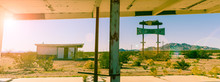 Abandoned Gas Station And Resturaunt On Route 66 In California, Cross Processed Vintage Sun Flare Colour Effect