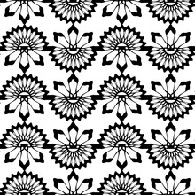 Geometric Vintage Seamless Pattern Vector Illustration With Monochrome Colors. Black And White Background Geometrical Abstract For Wall Wrapping And Fashion Textile Print.