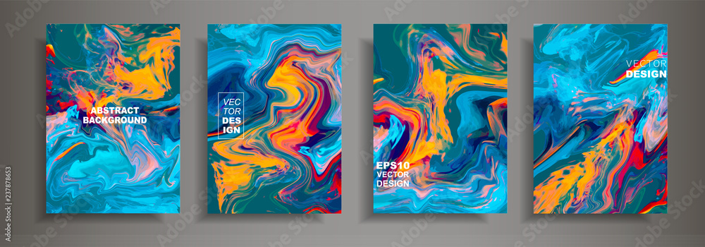 Fototapeta Modern design A4.Abstract marble texture of colored bright liquid paints.Splash neon acrylic paints.Used design presentations, print,flyer,business cards,invitations, calendars,sites, packaging,cover.