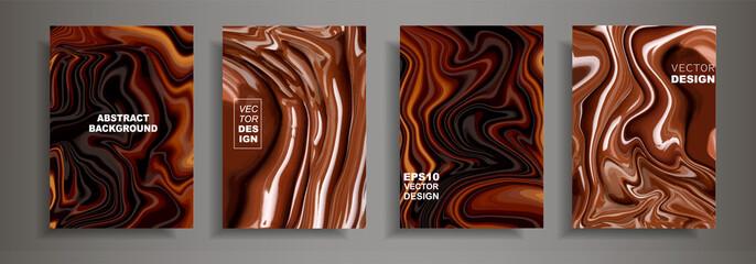 Moderni dizajn A4.Apstraktna čokoladna tekstura kave u svijetlim tekućim bojama. Premaz akrilnim bojama. Dizajnirajte prezentacije, tisak, letke, posjetnice, jelovnik, poster, web stranice, pakiranje, korice
