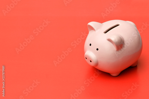 Photo .Pink piggy Bank stands on the right on a red background with a shadow. On the l