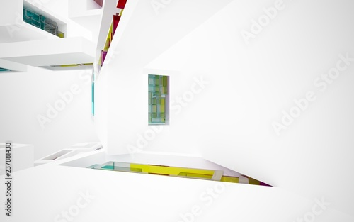 Foto op Aluminium Hoogte schaal abstract architectural interior with white sculpture and geometric glass lines. 3D illustration and rendering