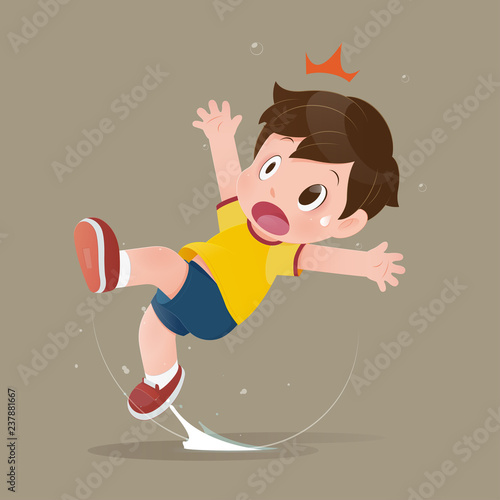 Canvastavla The yellow shirt cartoon boy feel shock because slipping in a puddle on the floor