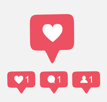 Pink Like Follower Comment Ico...