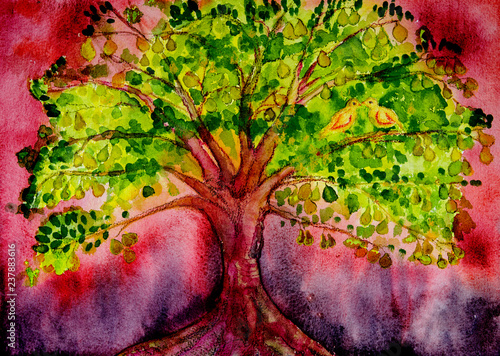 Foto Psychedelic pear tree with doves and red background