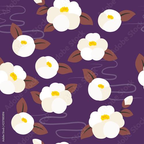Seamless pattern of camellia flowers Fotobehang