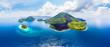 canvas print picture - Aerial view Banda Islands Moluccas archipelago Indonesia, Pulau Gunung Api, lava flows, coral reef white sand beach. Top travel tourist destination, best diving snorkeling.