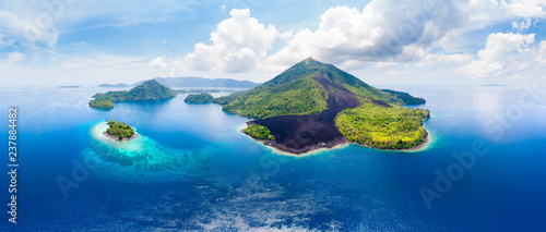Photo sur Toile Ile Aerial view Banda Islands Moluccas archipelago Indonesia, Pulau Gunung Api, lava flows, coral reef white sand beach. Top travel tourist destination, best diving snorkeling.