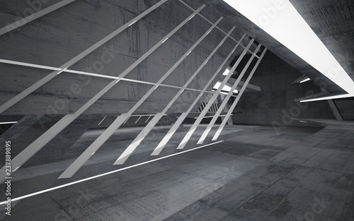 Spoed Foto op Canvas Trappen Empty dark abstract concrete room interior. Architectural background. Night view of the illuminated. 3D illustration and rendering