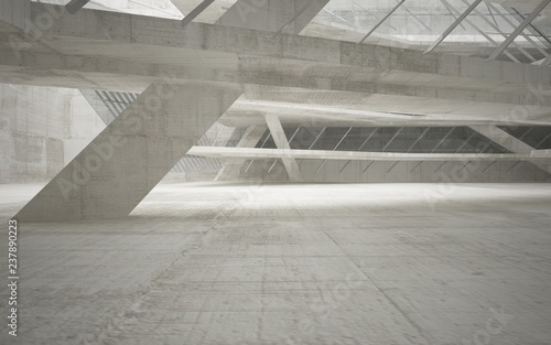Abstract interior of glass and concrete. Architectural background. 3D illustration and rendering  - 237890223