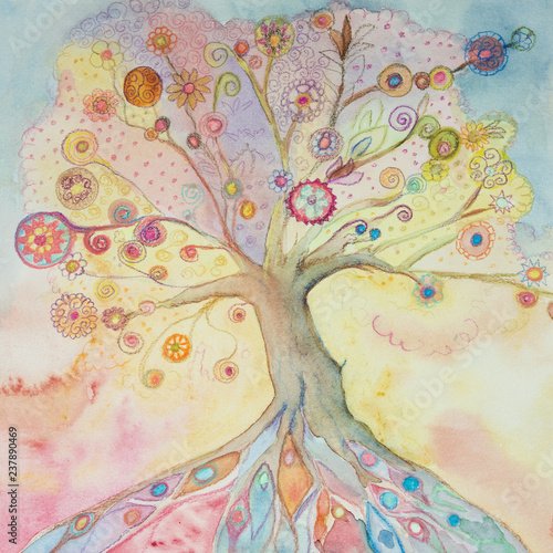 Whimsical tree of life with pastel colors Canvas