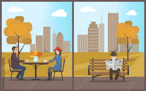 Cafe with Customers Drinking Beverage Set Vector Wallpaper Mural