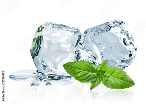 Obraz  Ice cubes and basil leaves isolated on white background  - fototapety do salonu
