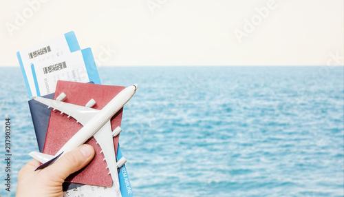 Foto op Plexiglas Oceanië Airplane passports flight travel