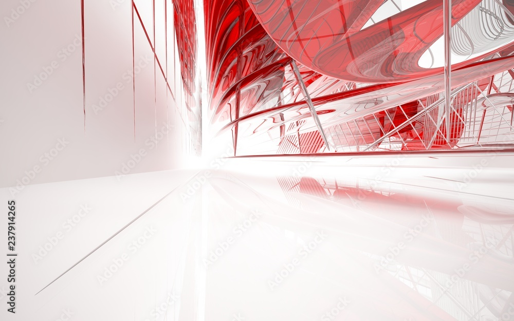 Abstract dynamic interior with red glass smooth  objects. 3D illustration and rendering