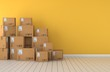 canvas print picture - Moving boxes  empty room in front of a yellow wall 3D Rendering