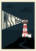 Light House Postcard I Miss Yo...