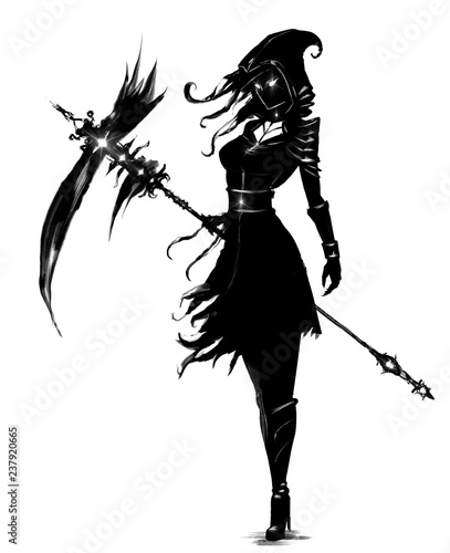 Photo sur Toile Art Studio Female necromancer with a huge scythe