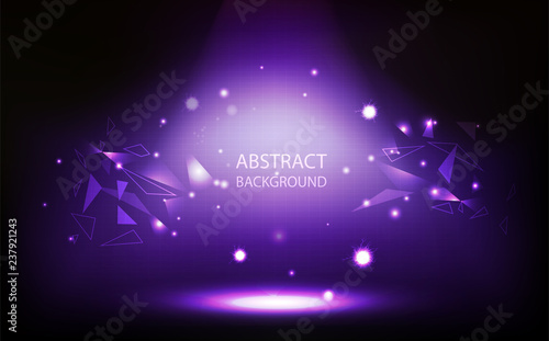 Abstract background, violet spotlight in room, grid wall, triangle polygon conce Fototapeta