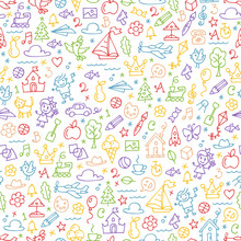 Vector Children Drawing Sketch Color Outline Doodles Seamless Background With Kids Hand Drawn Painting Cartoon Colorful Elements And Symbols For Kindergarten And Preschool Pattern.
