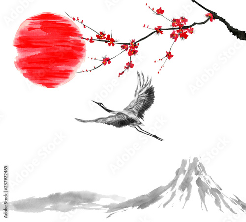 Oriental  traditional sumi-e painting. Fuji mountain, blossom sakura, japanes crane bird and sunset. Japan sun. Watercolor and ink illustration