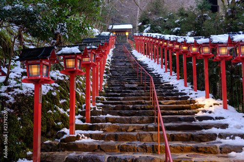 Recess Fitting Bamboo The lantern-lined steps in winter snow at Kibune