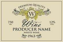 Vintage Label For Wine Bottles With Grapes