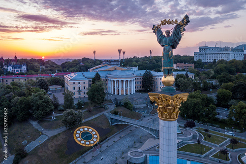 In de dag Kiev Kiev, Ukraine - May, 2018: Monument of Independence of Ukraine in Kiev. Historical sights of Ukraine.