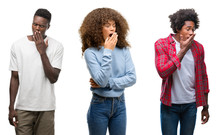 Collage Of African American Group Of People Over Isolated Background Bored Yawning Tired Covering Mouth With Hand. Restless And Sleepiness.