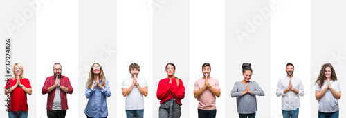 Photo  Collage of different ethnics young people over white stripes isolated background praying with hands together asking for forgiveness smiling confident