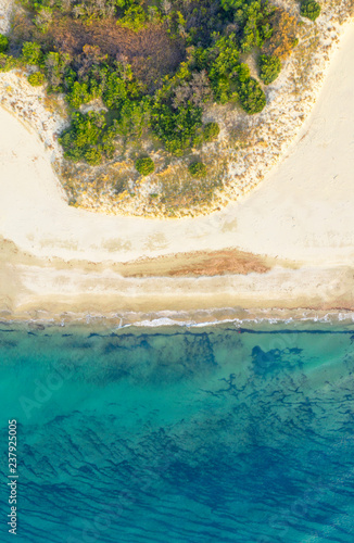 Canvas Prints Countryside Coastline drone view on sunny day