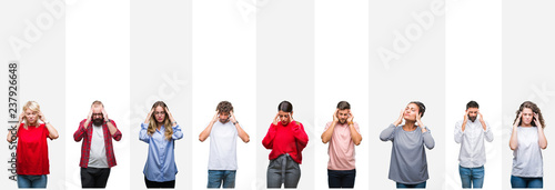 Fotografie, Obraz  Collage of different ethnics young people over white stripes isolated background with hand on head for pain in head because stress