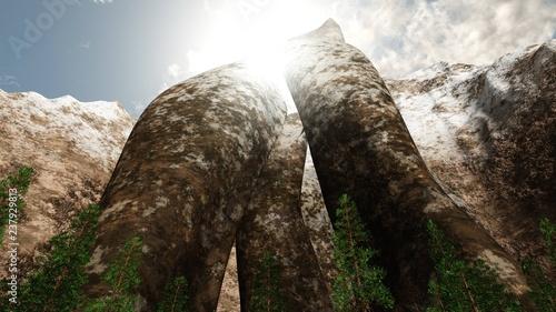 Photo Harsh cliffs, stone slabs, mountain scenery,