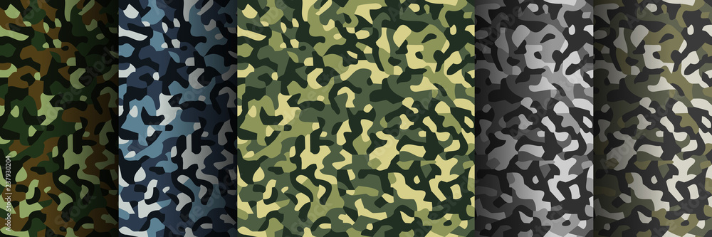 Fototapeta Set of 5 pack Camouflage seamless patterns. Abstract modern military textile print background. Vector illustration.