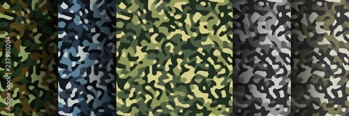 Türaufkleber Künstlich Set of 5 pack Camouflage seamless patterns. Abstract modern military textile print background. Vector illustration.