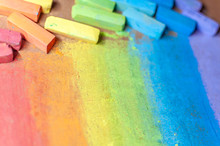 Colorful Chalks In Rainbow Col...