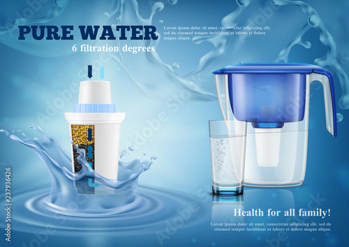 Obraz Water Filters Realistic Advertising Composition  - fototapety do salonu