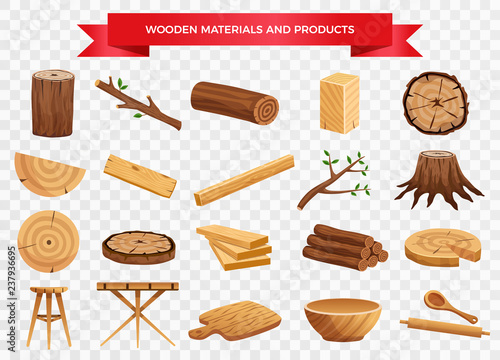 Photographie  Wood Material Products Set