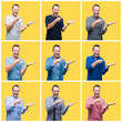 Collage of senior hoary elegant man over yellow isolated background amazed and smiling to the camera while presenting with hand and pointing with finger.
