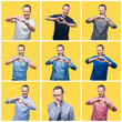 Collage of senior hoary elegant man over yellow isolated background smiling in love showing heart symbol and shape with hands. Romantic concept.